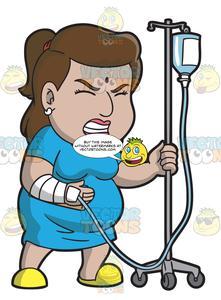 Patient clipart female patient. A in pain