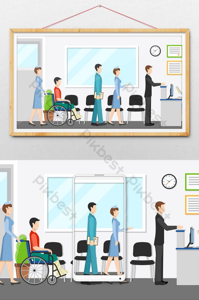 Patient clipart hospital registration. Creative small fresh reception