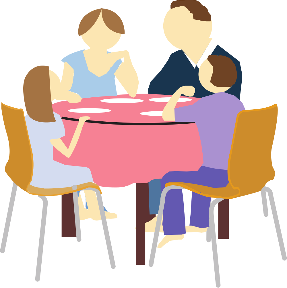 File family eating clip. Patient clipart interaction