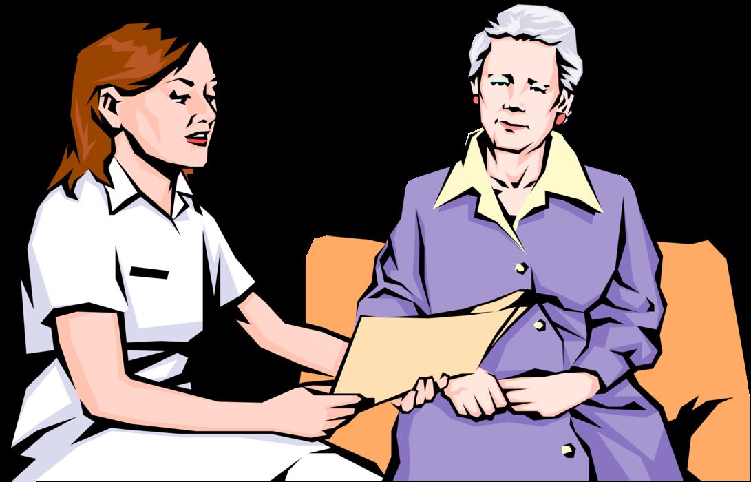 Nurse reviews results vector. Patient clipart patient examination