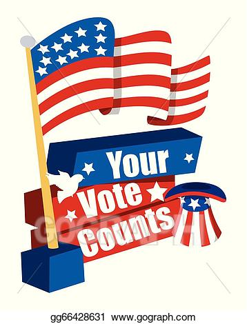 Voting clipart banner. Vector stock election day