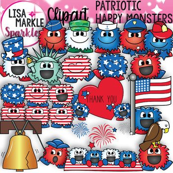 Red white blue monster. Patriotic clipart happy