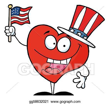 Patriotic clipart happy. Vector stock red heart