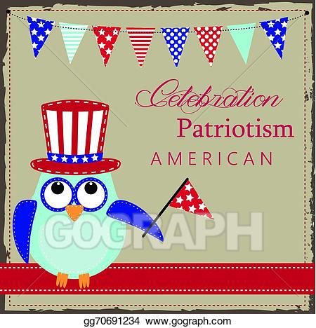 Patriotic clipart uncle sam's. Eps vector owl wearing