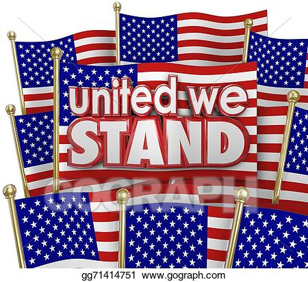 Patriotic clipart united we stand. Stock illustration american flags
