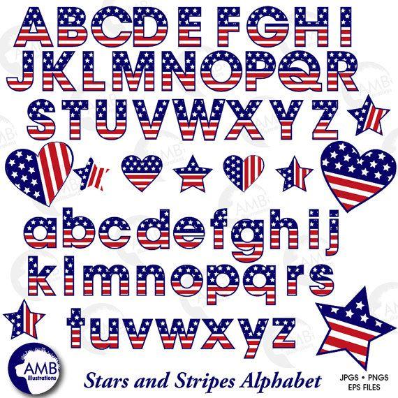 patriotic alphabet cliparts. Patriots clipart lettering