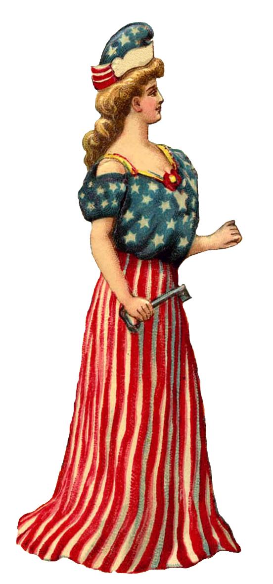 Patriotic lady vintage image. Patriots clipart retro
