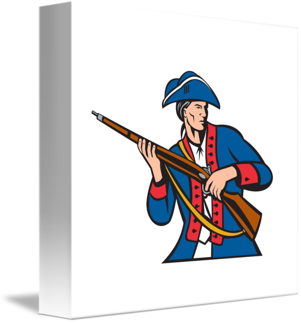 American patriot militia musket. Patriots clipart retro