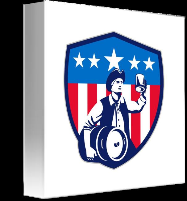 Patriots clipart retro. American patriot beer keg