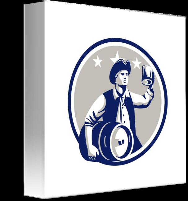 Patriots clipart retro. American patriot carry beer