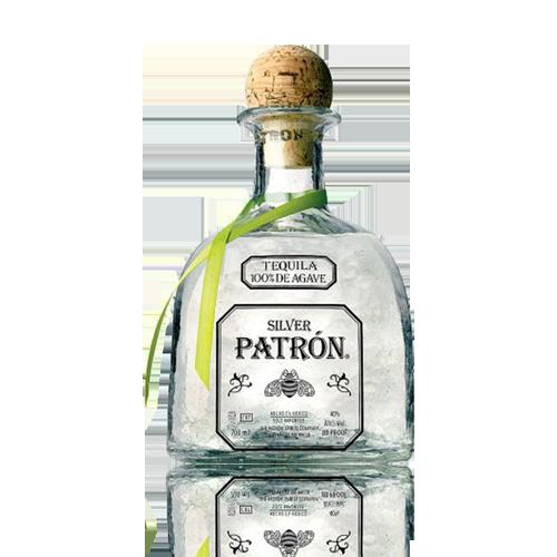 Patron bottle png. Non vintage silver tequila