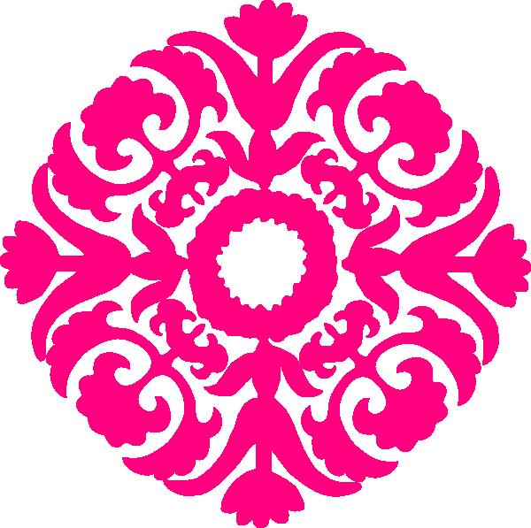 Hot damask flourish clip. Sewing clipart pink