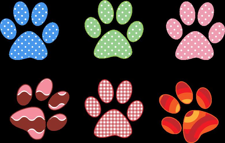 Pattern clipart paw print. Colorful prints medium image