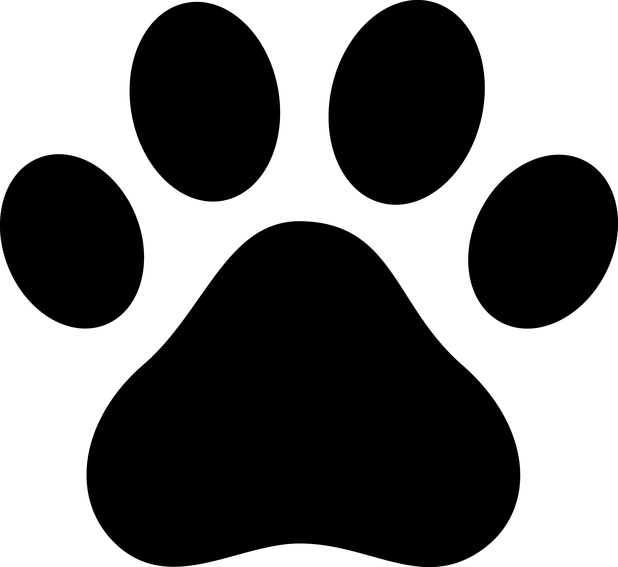 Picture of cartoon print. Paw clipart anime dog