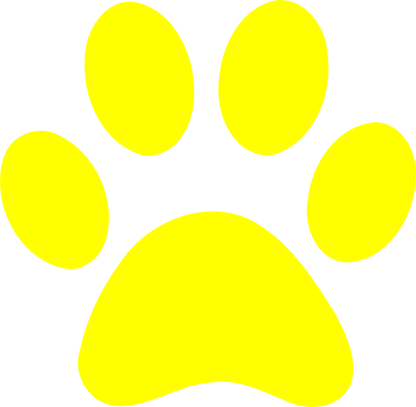 Paw clipart clear background. Yellow print clip art