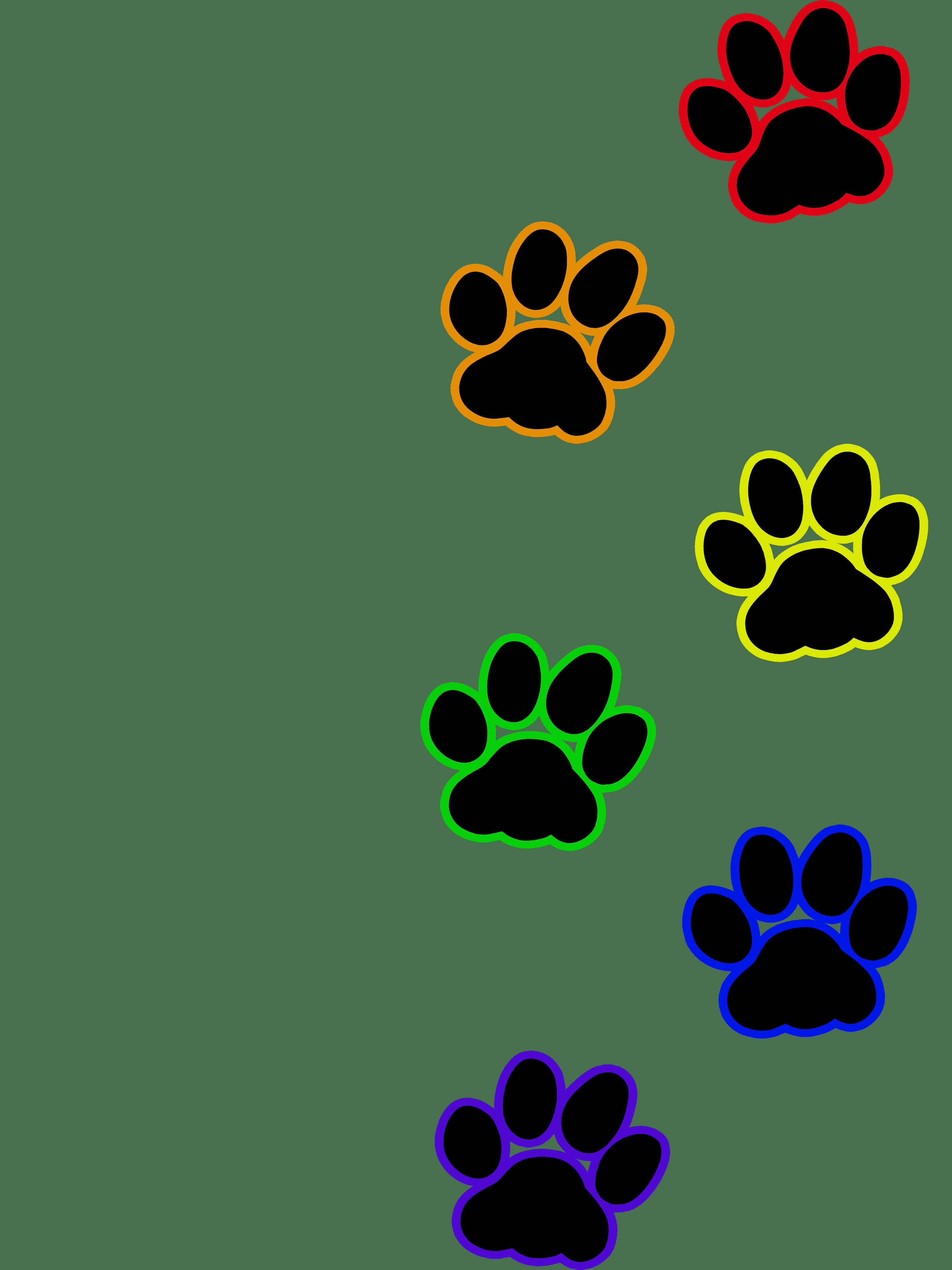 Paw clipart colourful. Cat print rainbow artworktee