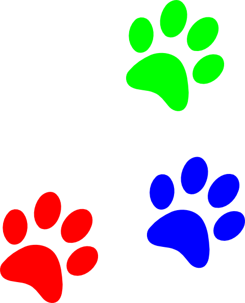 Puppy prints free download. Paw clipart colourful