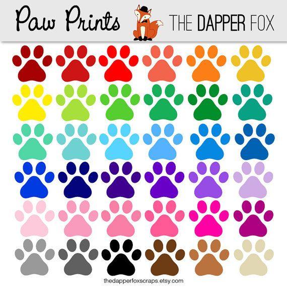 Paw clipart colourful. Print digital clip art