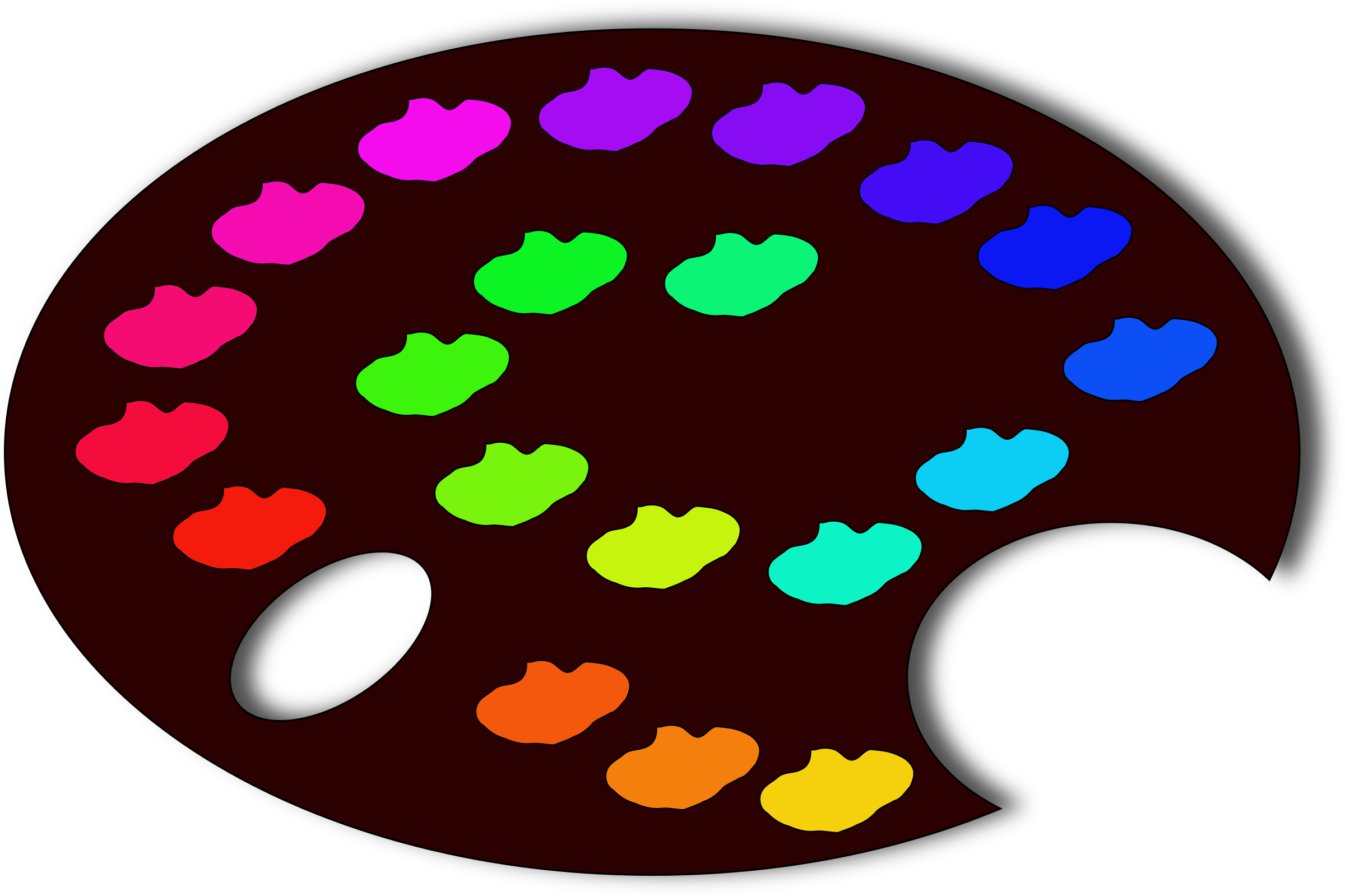 Palette with colours big. Paw clipart colourful