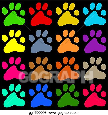 Paw clipart colourful. Stock illustration paws drawing