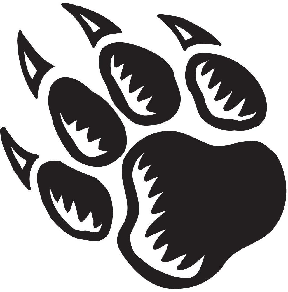 Pawprint clipart bear cub. Scout paw print library