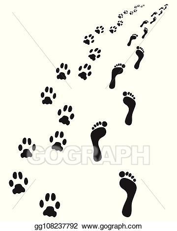 Vector illustration bare feet. Paw clipart dog leg