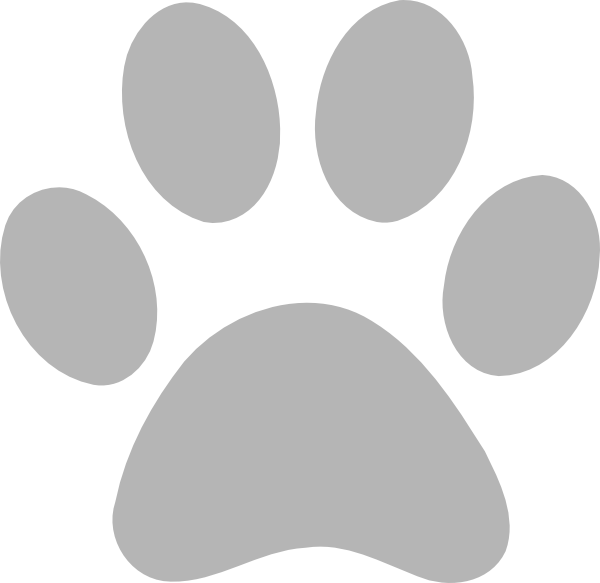 Paws clipart dow. Gray paw print free