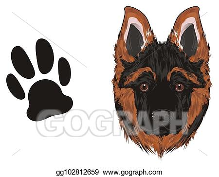 Drawing snout of and. Paw clipart german shepherd