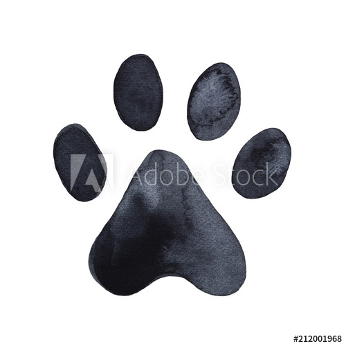 Dog or cat print. Paw clipart hand drawn
