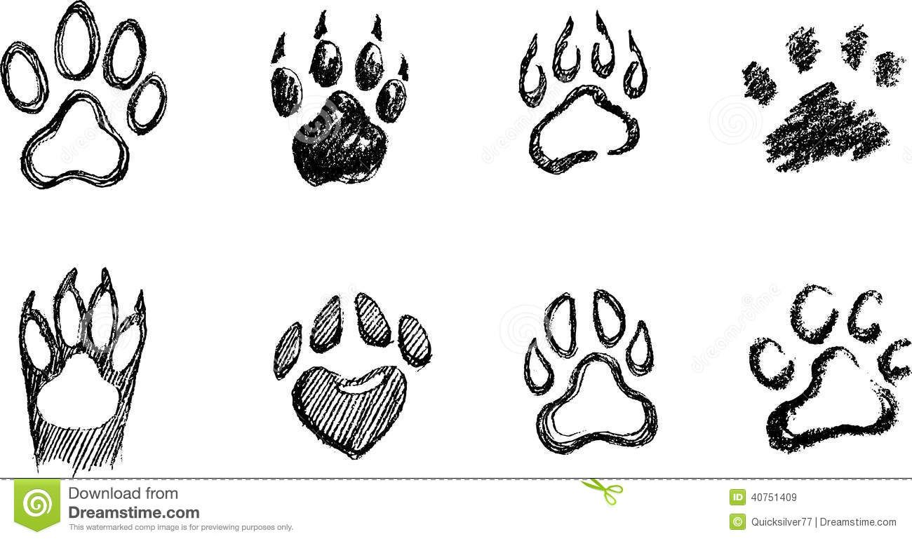 Paw clipart hand drawn. Draw a dog print