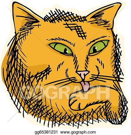 Paw clipart house cat. Vector stock licking illustration