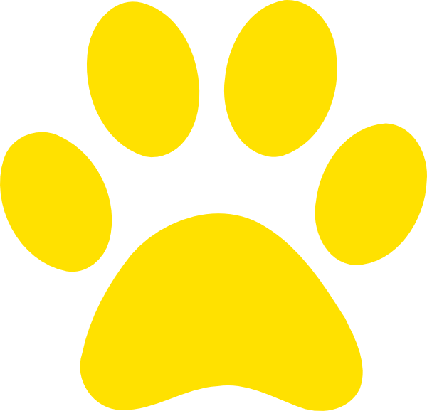 Paw clipart large. Yellow print clip art