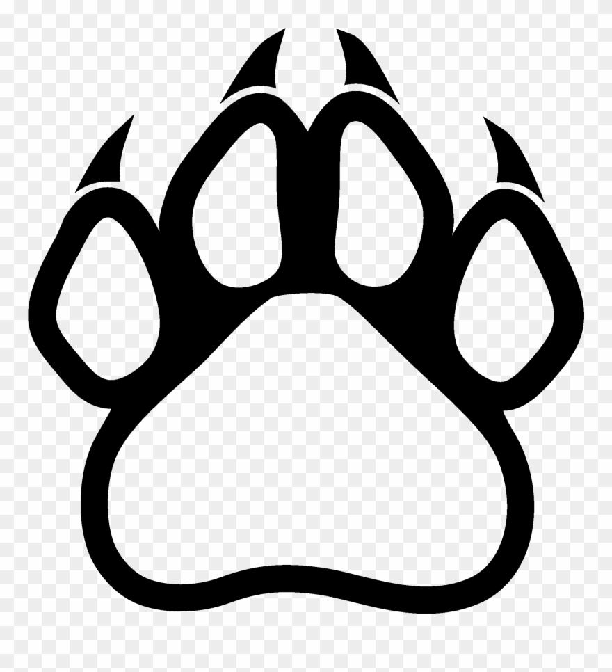 Habitat panther print logo. Paw clipart polar bear