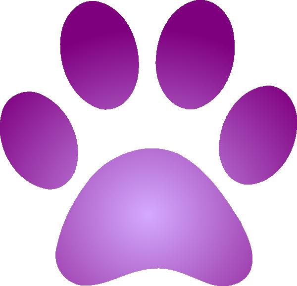 Purple clipart wildcat. Paw print with gradient