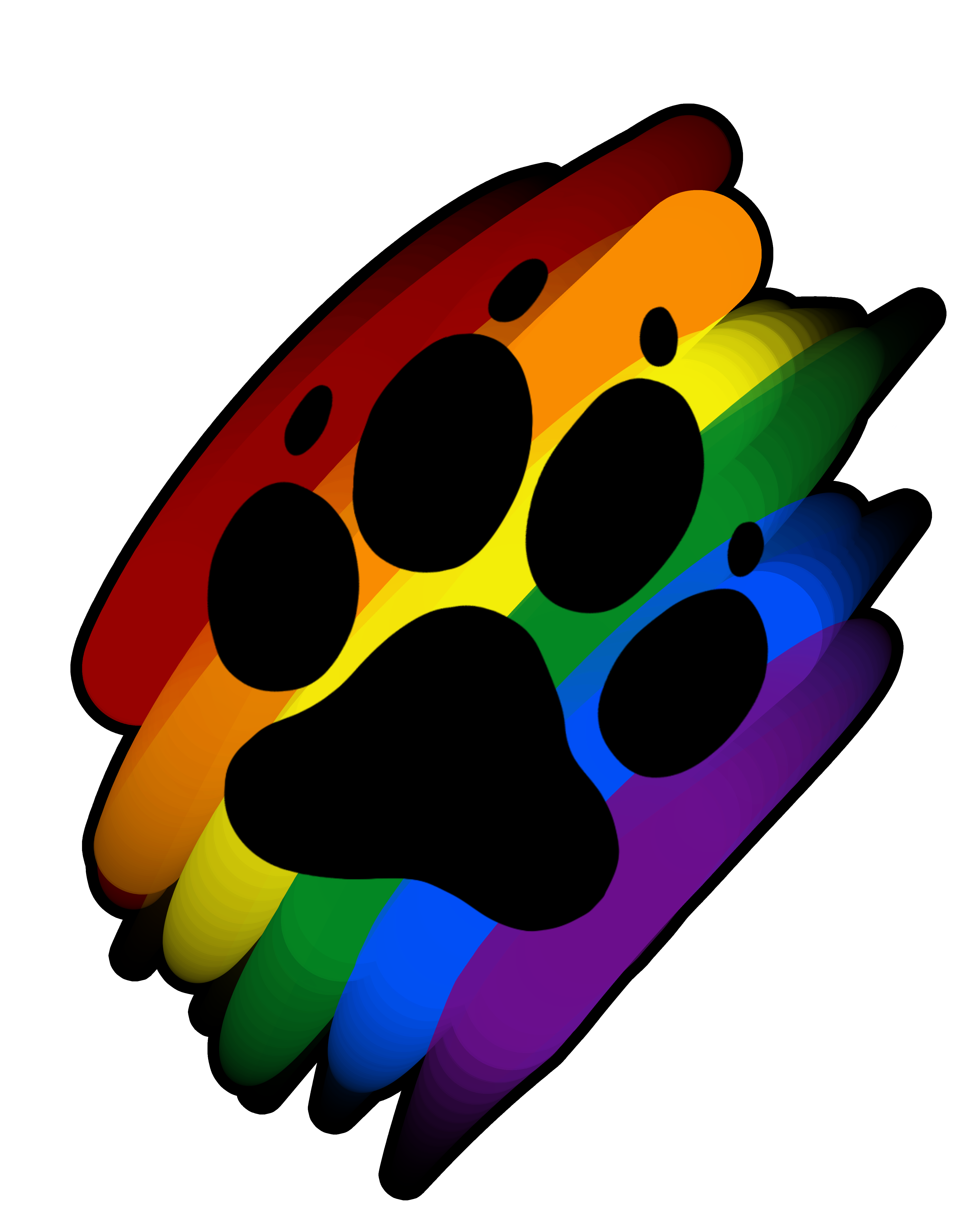 Print marker artworktee . Paw clipart rainbow