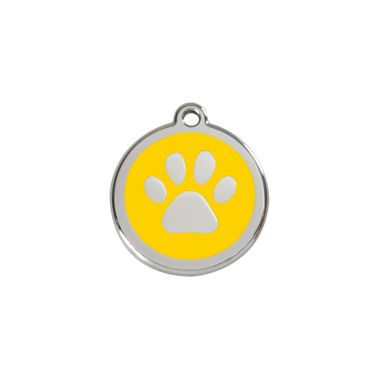 Red dingo enamel tag. Paws clipart yellow dog