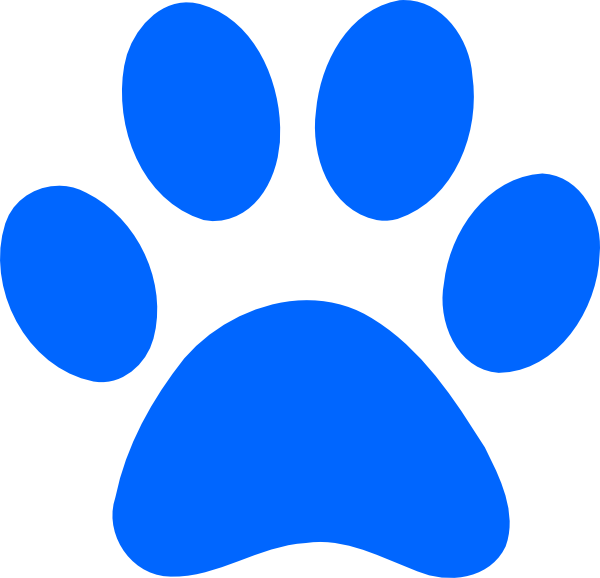 Blue paw print clip. Pawprint clipart