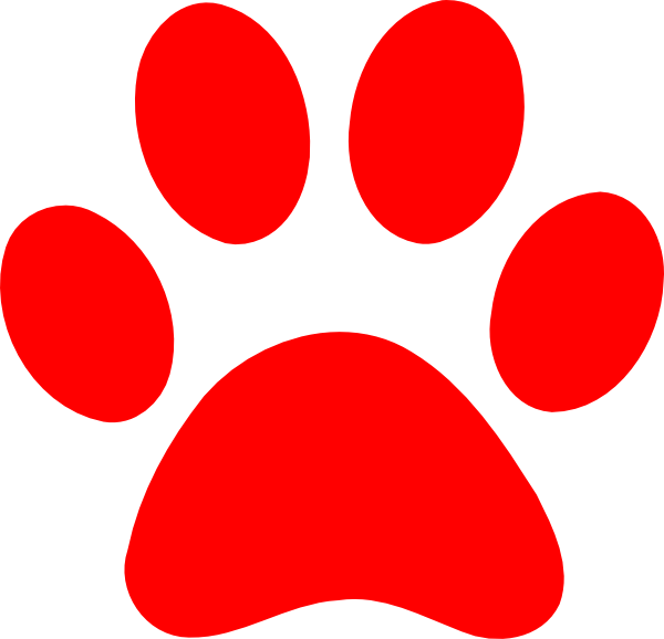 Red paw print pinterest. Pawprint clipart blue's clue