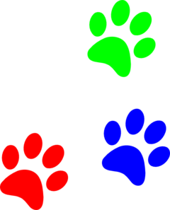 Primary colors paw prints. Pawprint clipart color