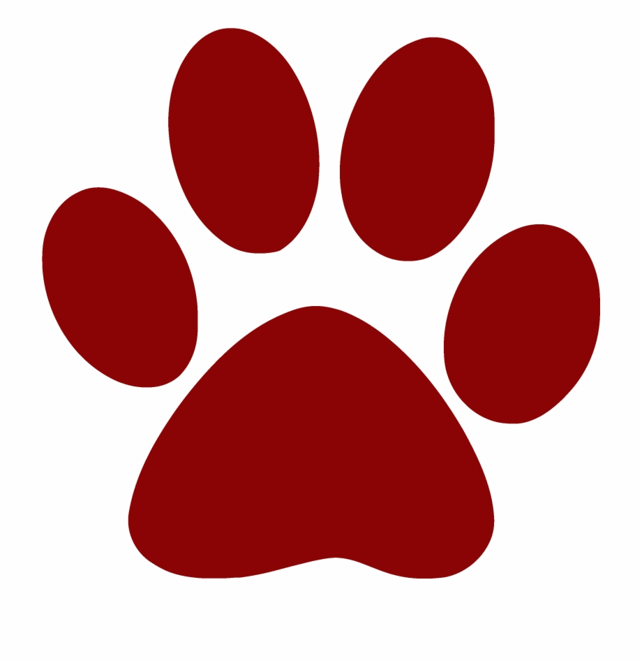 Red pawprints all about. Pawprint clipart paw print