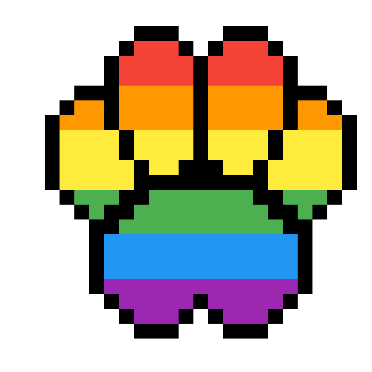 Pixilart by tacotara. Pawprint clipart rainbow