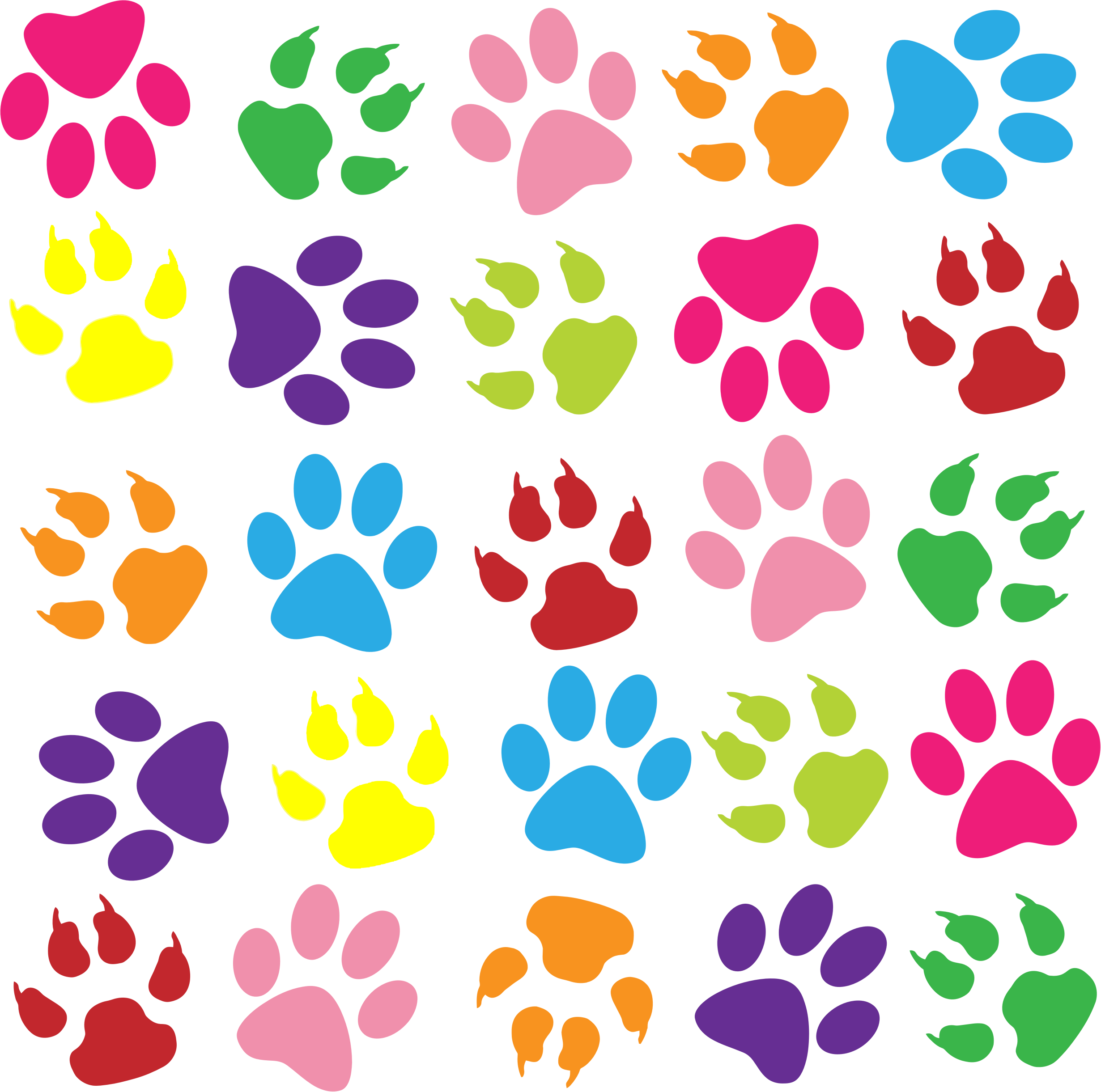 Pawprint clipart transparent background. Colorful paw print bclipart