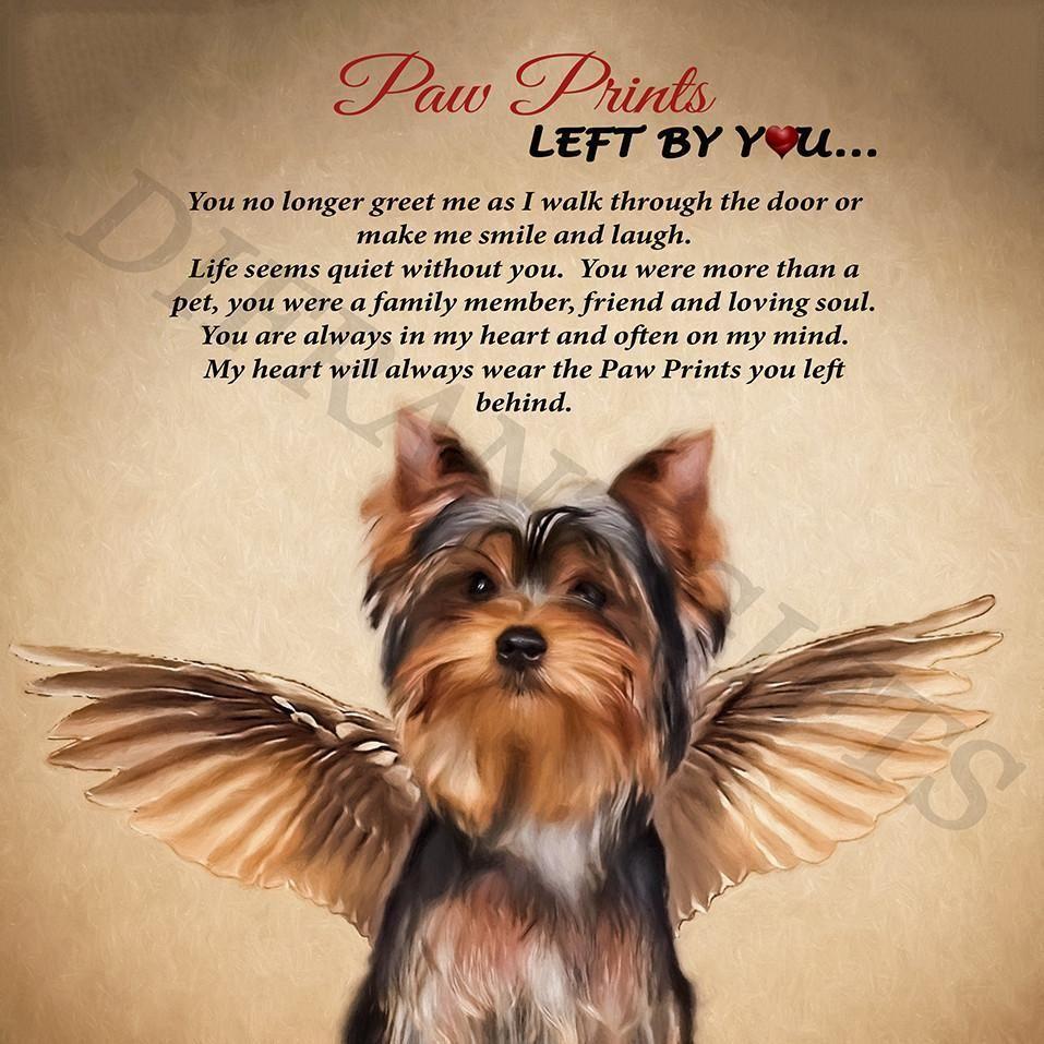 Angel paw print plaque. Pawprint clipart yorkie