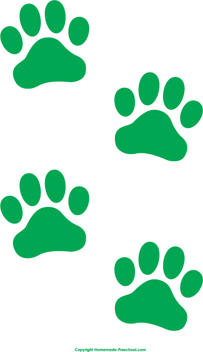 Paws clipart. Free paw prints green