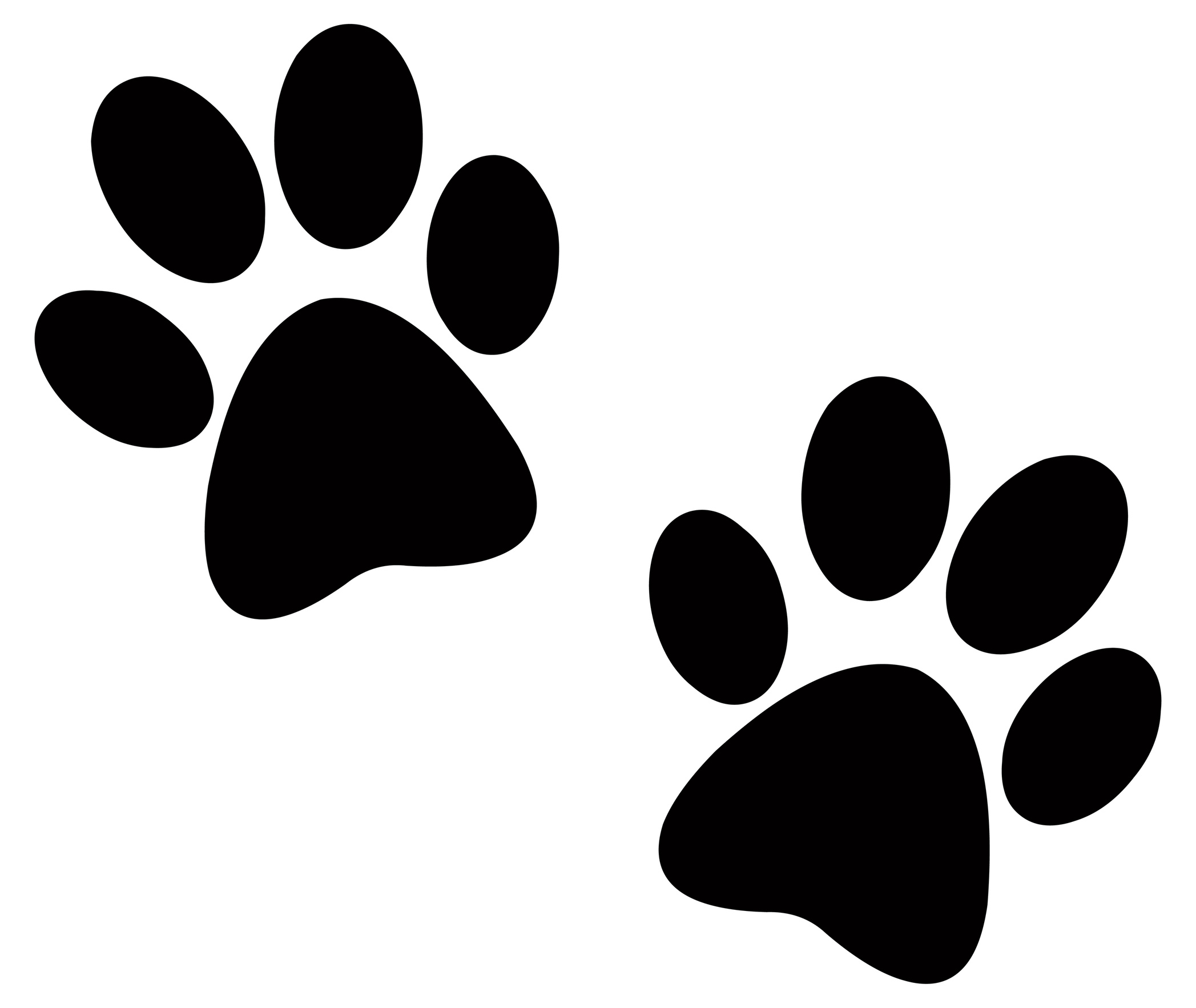 Free dog paw print. Paws clipart