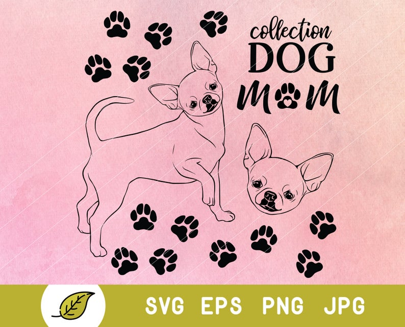 Paws clipart chihuahua dog. Svg face mama paw
