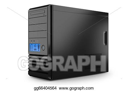 Stock illustration case tower. Pc clipart home computer