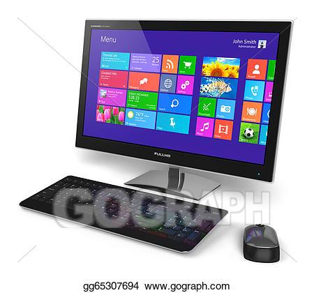Pc clipart modern computer. Desktop with touchscreen interface
