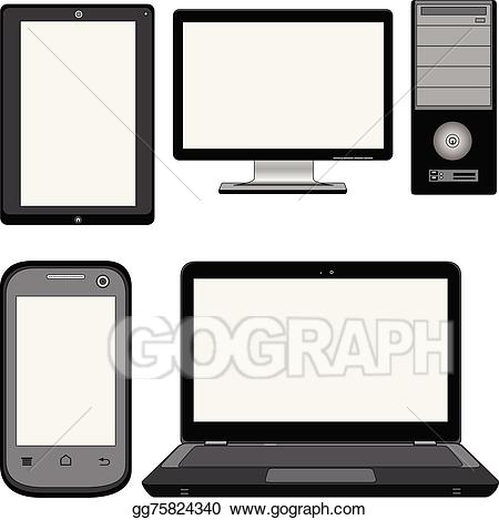 Pc clipart modern computer. Eps vector computers stock