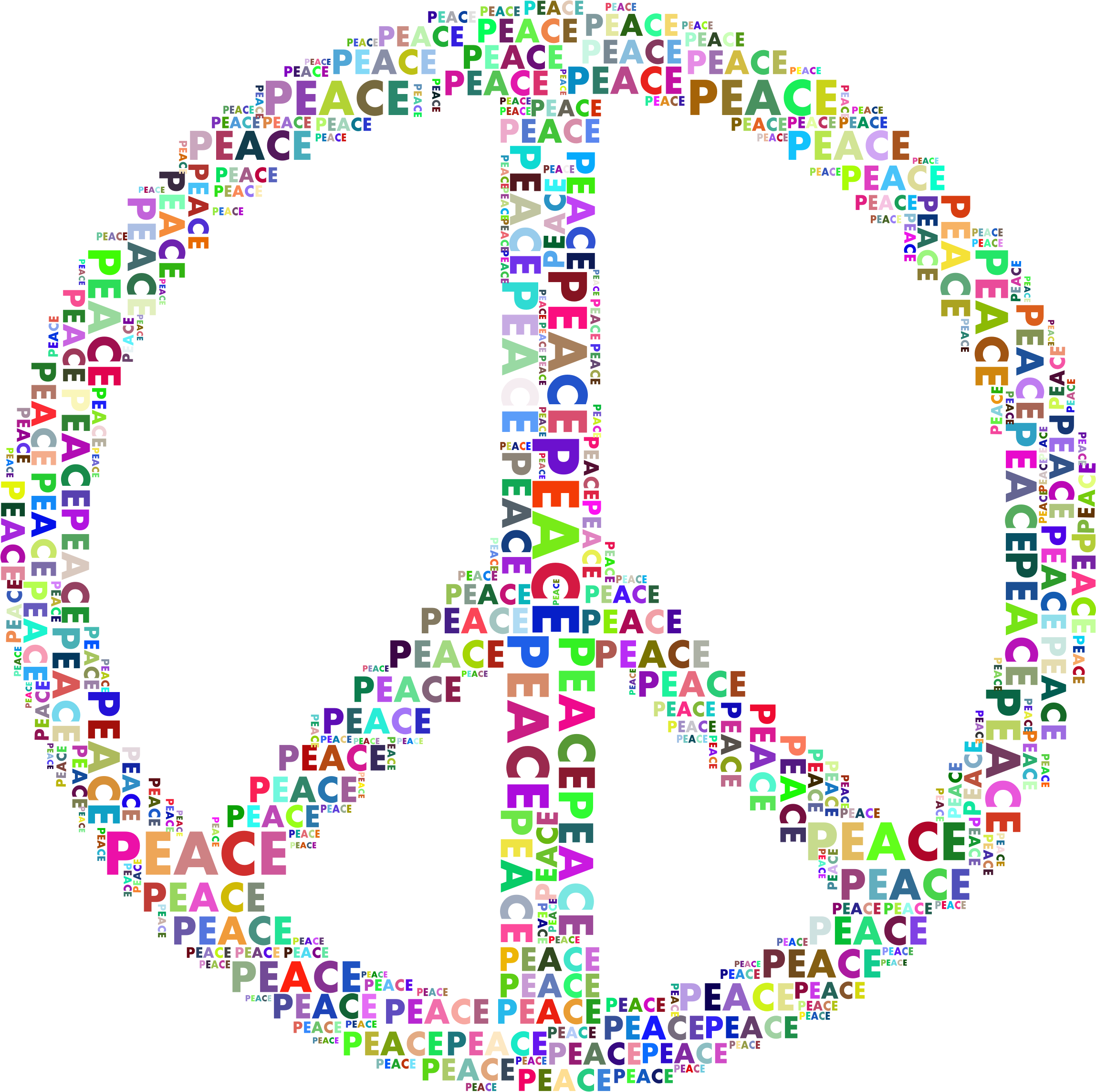 Words clipart peace. Prismatic sign word cloud
